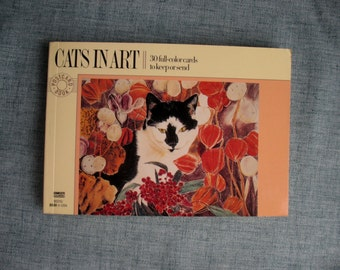 Vintage Cats In Art Postcard Book 30 Unused Postcards 1988