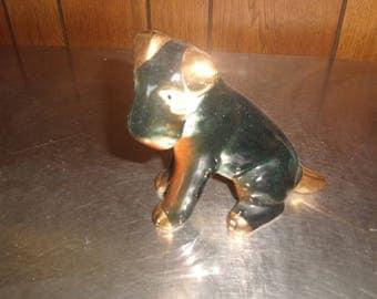 vintage dog puppy figurine figure black gold schnauzer ceramic