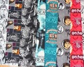 Harry Potter and Fantastic Beasts Fabrics, 8 Fat Quarters, Wizard Newspaper, HP Logo, Harry Collage, Black and White