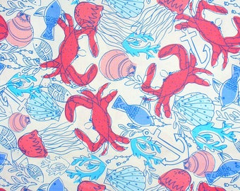 Beach Fabric, Abstract Beach, Fish and Crabs, Seashells, Jellyfish and Shells, Vacation Fabric, By the Yard, Cotton, Anchors and Seaweed