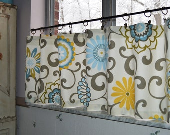 Kitchen Valance . Cafe Curtains . Waverly Pom Pom Play Spa . Swirls of Gray on a Cream Floral Print . FULLY Lined .  By Seams Original