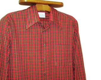 70s Red Plaid Shirt Wide Collar Shirt  Mens Plaid Shirt Plaid Cotton Shirt 1970s Plaid Shirt Permanent Press Shirt Made in Canada
