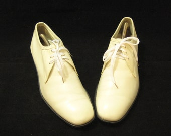 70s White Shoes White Leather Shoes Mens Lace Up Shoes Leather Lace Up White Lace Up Shoes Mens Shoes Dack Made in Canada White Dress Shoes