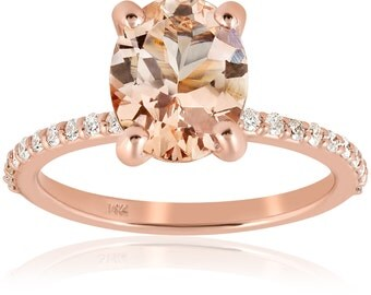 Morganite & Diamond Rose Gold Engagement Ring Oval Morganite Rose Gold Diamond Pave Engagement Antique Style Ring Band 14 Karat Size 4-9