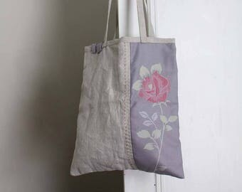 Hand stitched Summer Tote Bag. Violet Vintage Kimono Rose and Gray Natural Linen. Hand Embroidered. Rustic romantic Floral Pastels.