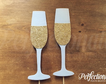 2 Champagne Glasses Photo-Booth Props | Gold Glitter Champagne Flute Props