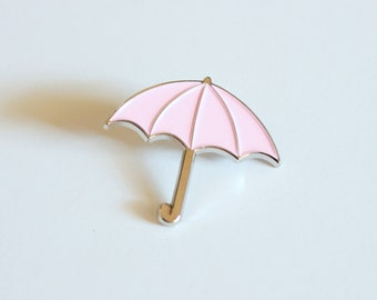 """Pastel Pink and Silver Umbrella Lapel Pin // 1.25"""" soft enamel, cute fashion, gift for her"""