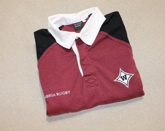 newer vintage - rugby jersey. Wando High School - Mt. Pleasant, SC. Garnet / Black Cotton - Poly blend. Boy's Large - Men's Small