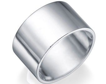 Flat 14K White Gold Wedding Band - Classic Solid White Gold Size 5 Flat Band Gift For Her Handmade
