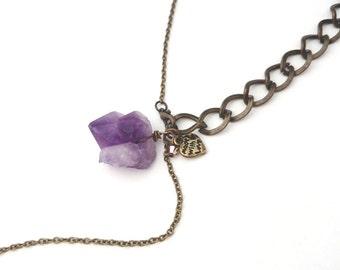 Raw Amethyst Necklace - Purple Cones Amethyst Jewelry, February Birthstone, Raw Crystal Necklace