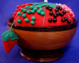 Vintage Pin Cushion in Handturned Walnut and Cherry Wood bowl