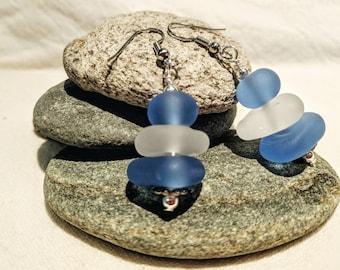 Beachy Blue & Clear Glass Bead Drop Earrings; Sea Glass