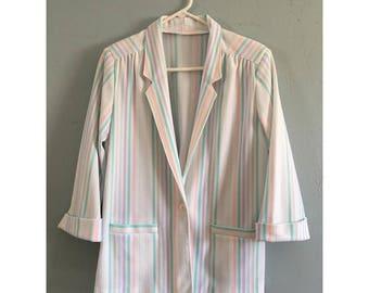 Vintage Pastel Striped Blazer, Women's Size M/L