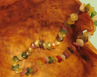 Vintage Multicolored Marbled Lucite Flat Bead Necklace