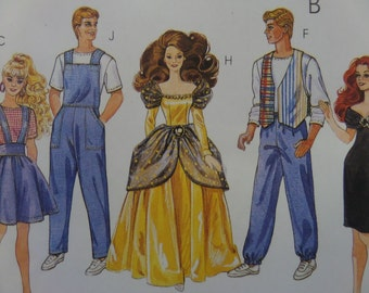 FASHION DOLL CLOTHES Pattern • McCall's 6317 • 90s Barbie & Ken Clothes • Doll Overalls • Sewing Patterns • Craft Patterns • WhiletheCatNaps