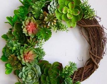 Artificial Succulent Wreath, Succulent Wreath, Spring wreath,Faux Succulent Wreath, Mother's Day Wreath,Summer Wreath,Succulent Arrangement
