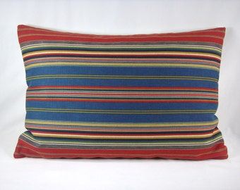 Stripe Lumbar Pillow Blue Red and Gold Decorative Accent Lumbar Pillow 15x21 Cover Only
