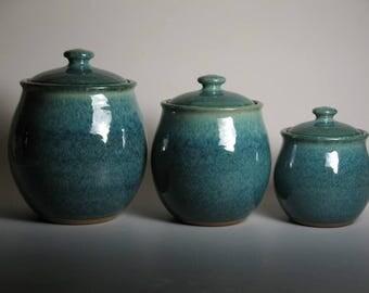 Canister set, blue green