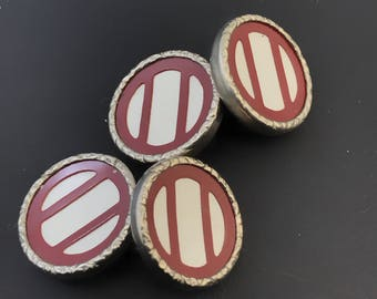 Vintage Deco Cuff links. Red White Cufflinks.  White Red Cuff Links . Geometric  Cuff Links.  No.00803