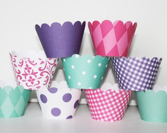 Teal, Hot Pink, Purple, Cupcake Wrappers, Basic collection,  holder, wrap, wedding, bridal shower, baby shower, birthday party, mermaid