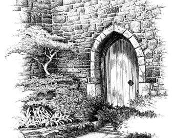 Rye Castle England art,black and white art,Castle art.England scenes,British art,print of English Castles,medieval castle art