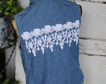 Denim and Lace Vest, size small denim vest with vintage lace, rose lace, rose fringe, repurposed fashion, upcycled clothing, ladies small