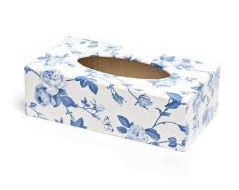 Blue Flower Tissue Box Cover handmade in UK wooden perfect gift