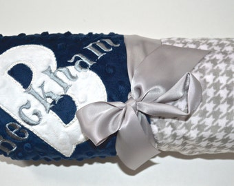 SALE Monogrammed Minky Baby Blanket -  Gray and White Houndstooth, Navy Blue, Preppy, Personalized Baby Gift Blanket with Name Newborn