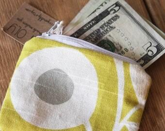 Yellow Flower Pouch - Change Purse - Wallet - Zipper Pouch