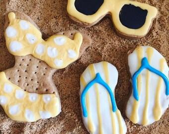 Fun in the Sun Beach Treat Set - Bikini - flip flops - Sun Glasses  -  Beach - Summer - Yogurt Icing - Carob icing - Peanut Butter