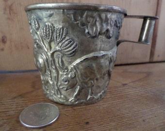 Vintage Greek souvenir // embossed brass Vaphio cup