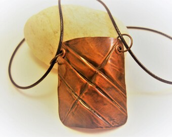 Copper Form-Folded Hammered Pendant on Leather Cord