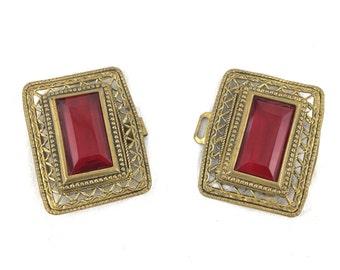 Czech Leaded Ruby Glass Victorian Brass Filigree Belt / Cape Buckle