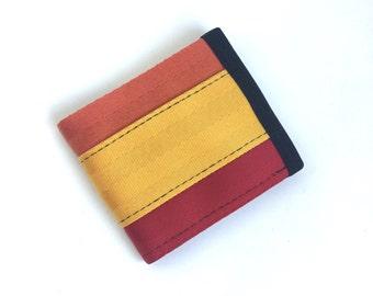 Vegan Billfold Wallet -  Red, Orange, and Yellow Seatbelt Webbing - Velcro Wallet (SBW-V3)