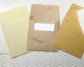 8 teeny tiny envelopes grunge handmade papers miniature note sets square stationery party favors weddings guest book table numbers
