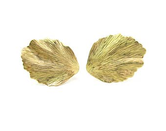 Trifari Gold Earrings. Leaf Earrings. Crown Trifari Designer Jewelry. Textured, Rippled. Clip Ons. Vintage 1960s Retro