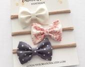 Newborn Headbands - Set of 3 Mini Bows - Small Bow Headbands - Tiny Baby Bows - Cream Coral Floral Gray Dot - Mini Bow Headbands or Clips