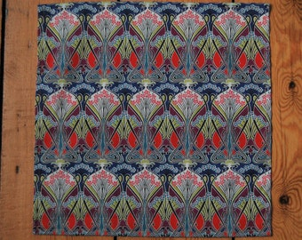 Handmade Liberty Fabric Pocket Square Handkerchief in Ianthe Multi Coloured