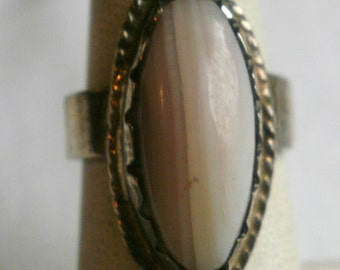 Vintage Sterling Silver Agate Ring-Size 6 1/8