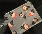 Harry Potter and Friends Small Zippered Pouch with Swivel Clasp - stocking stuffer, teacher gift, knitting notions bag