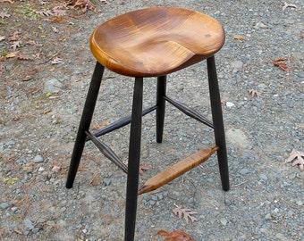 "Kitchen Counter Stool, 25"" counter stool, kitchen island stool, tiger maple, garny"