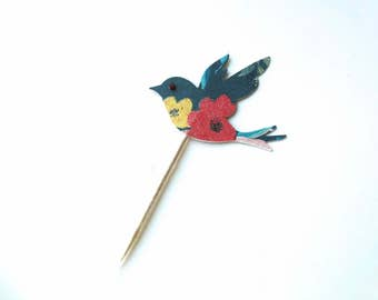 Bird Cupcake Toppers, Birthday Cupcake Topper, Garden Party, Decorated Toothpicks, Bird Birthday Party, Glitter Bird Toppers