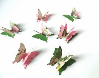 3D paper butterflies, garden party decor, vintage design butterflies, birthday party accent, girls room wall decorations