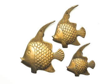 Vintage Hanging Brass Angelfish Collection