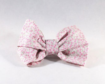 Pink Posy Floral Girl Dog Bow Tie