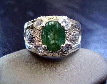 Genuine Emerald Faceted Oval & Genuine White Sapphire Ring Solid 925 Sterling Silver Ring Unisex GoT Ring May Birthstone Fathers Day Gift