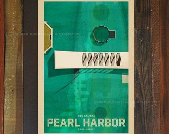Pearl Harbor USS Arizona - 12 x 18 Retro Hawaii Travel Print