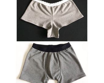 His And Her Boxer Set Made From Organic Terry Cotton