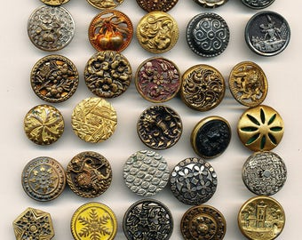 Antique Vintage  Victorian Metal Buttons-  Lot F     Ca. 1890's to  1930's