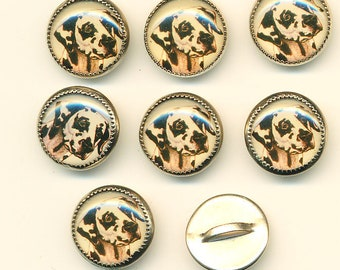 Vintage Dalmation Dog Buttons - Set of 8 ca.1990's